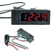 12V 3in1 Vehicle Car Kit Thermometer + Voltmeter + Clock LED Digital Display You Can Choose The Snap-in Mounting Hole