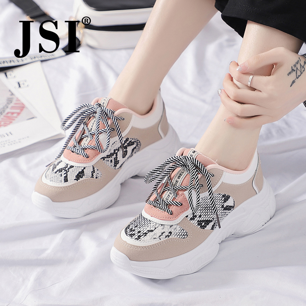 JSI Fashion Women Sneakers Chunky Platform Snake Print Round Toe Lace-Up Patchwork Air Mesh Casual Flats Women Sneakers JX53