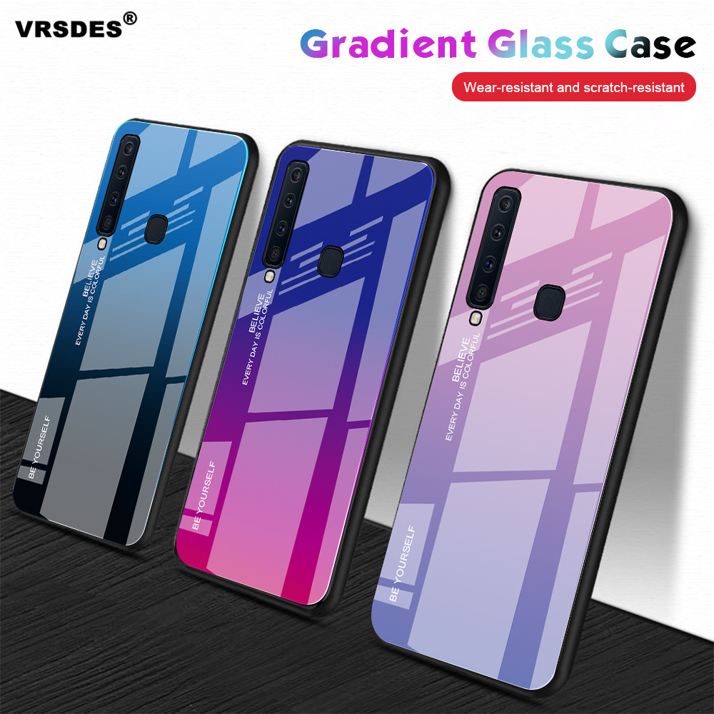 Gradient Tempered Glass Case For Samsung Galaxy A9 A7 2018 A8 A6 Plus J8 J6 J4 Plus 2018 A7 A5 2017 A520 A720 Case Capa Funda image