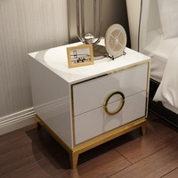 Post modern light luxury bedside table Solid wood drawer stainless steel hardware plating frame simple bedside table