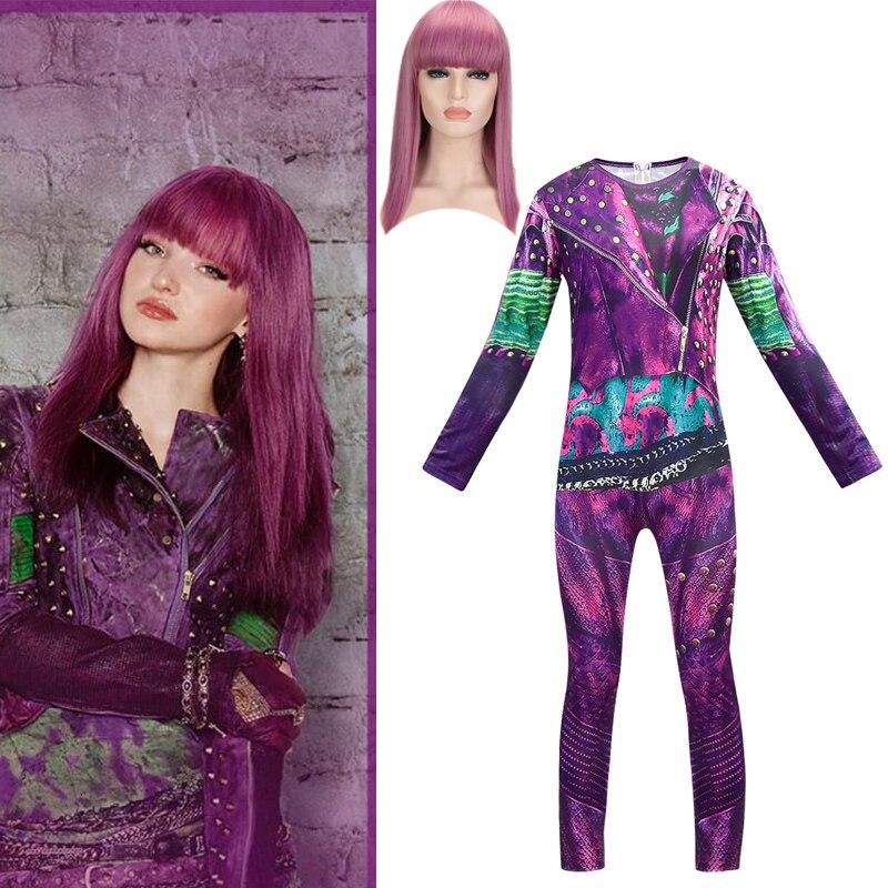Descendants Mal Jumpsuits Purple Wig Cosplay Costume 3D Printed Halloween Descendants3 Love Live Kids Girls Costumes