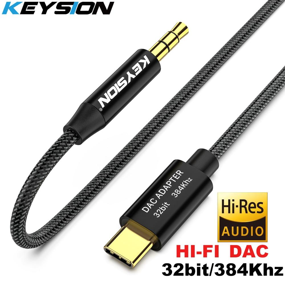 KEYSION HIFI DAC Earphone Amplifier USB Type C To AUX Speaker Cable Adapter 32bit 384kHz HD Digital Decoder Car Audio Input Cord