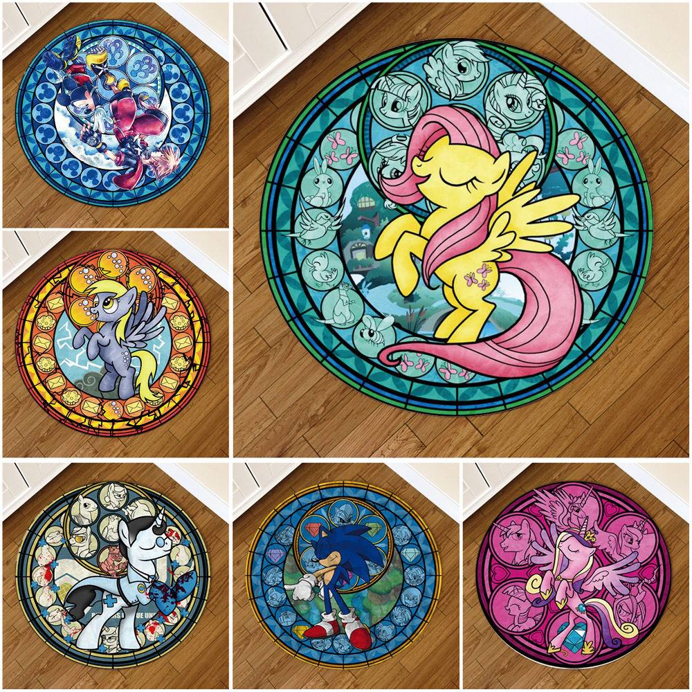 New Non-slip Pokemon Rug Round Pikachu Floor Fur Carpet Living Room Doormat Fluffy Chair Mat Comfortable Home Hotel Decoration