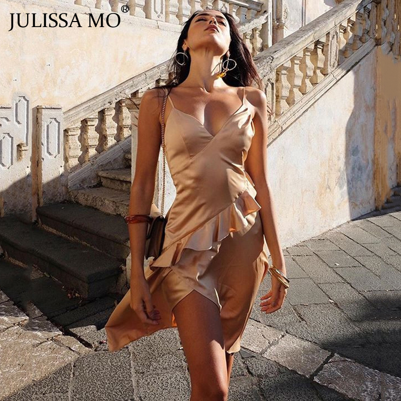 JULISSAMO Elegant Ruffles Irregular Party <font><b>Dress</b></font> Women Satin V Neck <font><b>Backless</b></font> Long <font><b>Dresses</b></font> <font><b>Sexy</b></font> Split Christmas <font><b>Dress</b></font> Vestidos image