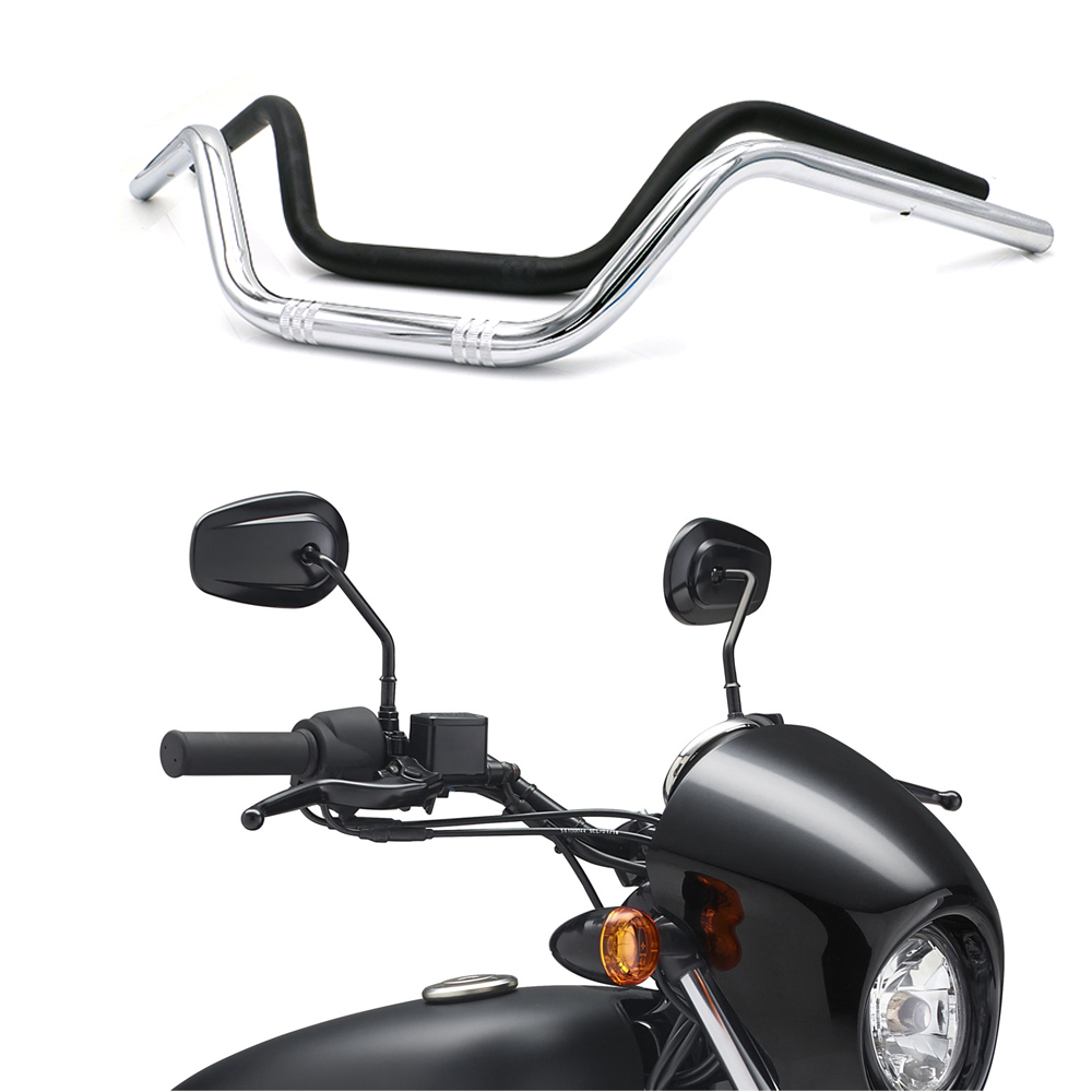 Motorcycle Retro Handlebar 22mm Universal Classical Handle Bar Motorbike Scooter Vintage Handlebars Black Chrome