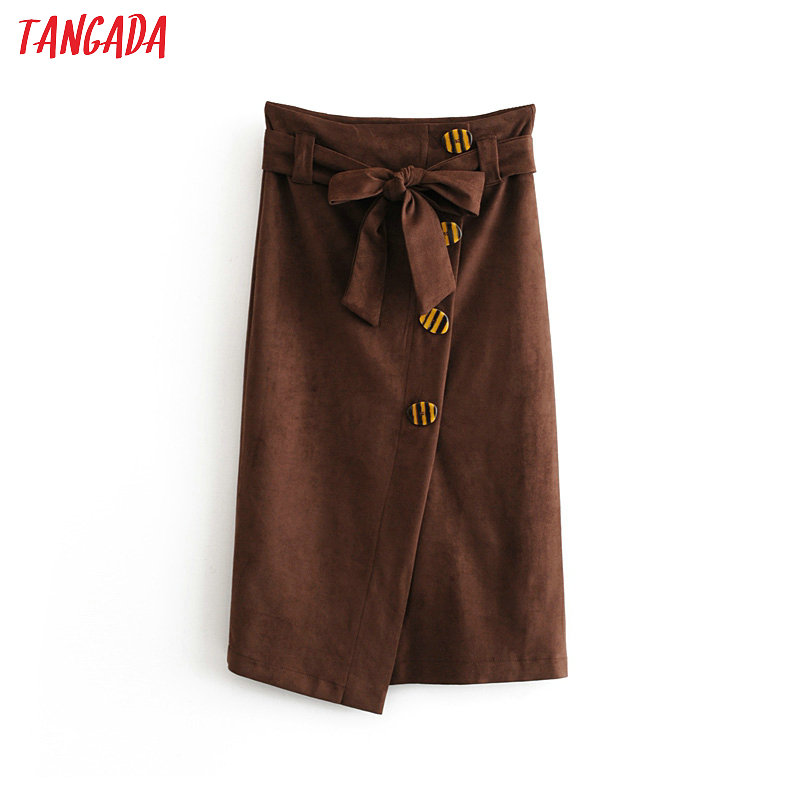 Tangada Fashion Women Winter Brown Suede Skirt Vintage Elegant Ladies Skirt With Belt Mujer Retro Mid Calf Skirts 6A321