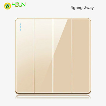 High-grade 1 2 3 4 gang 1 2 way big panel Golden switch socket Type 86 Wall 2.5D Cambered Mirror Toughened glass Computer TV 14