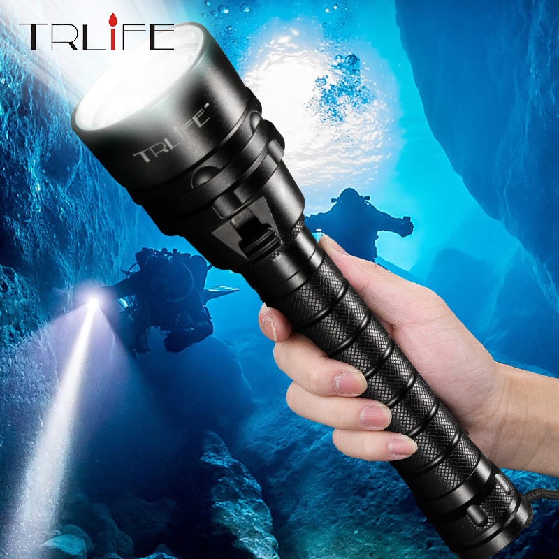 TRLIFE New Scuba Dive LED Flashlight UV T6 L2 IPX8 Underwater Diving Light Super Bright 8000Lumens Dive Lamp with 1mode Switch