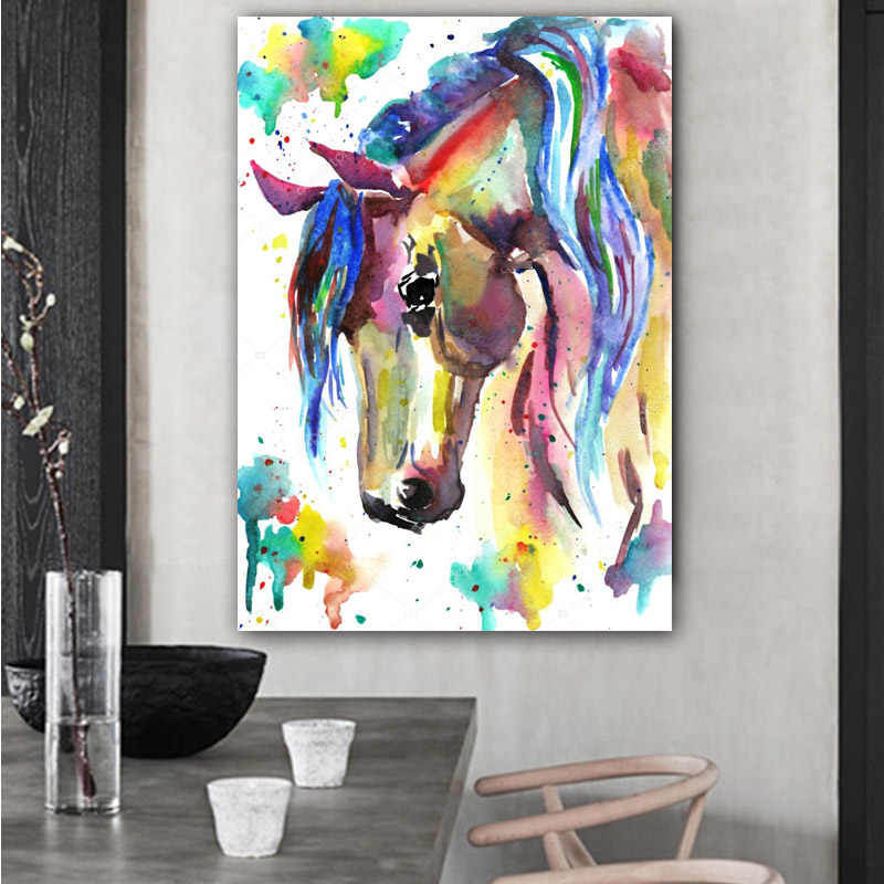 RELIABLE ART Horse Animals Pictures Watercolor Painting Canvas Prints Colorful Posters Wall Art Picture For Living Room NO FRAME