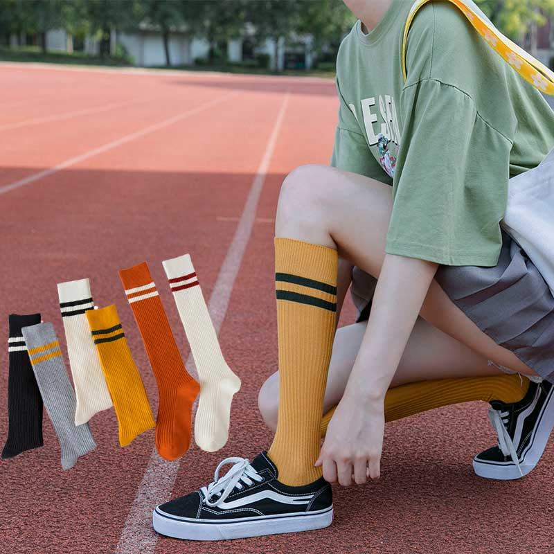 korean style women <font><b>socks</b></font> e girl cute long <font><b>knee</b></font> winter <font><b>kawaii</b></font> fall happy sheer chaussettes hautes striped modis yellow fashion image