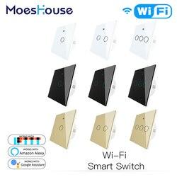 WiFi Inteligente Interruptor de Parede Light Touch Smart Life/Tuya Trabalho de Controle Remoto Sem Fio com Alexa Google Casa Preto Branco ouro