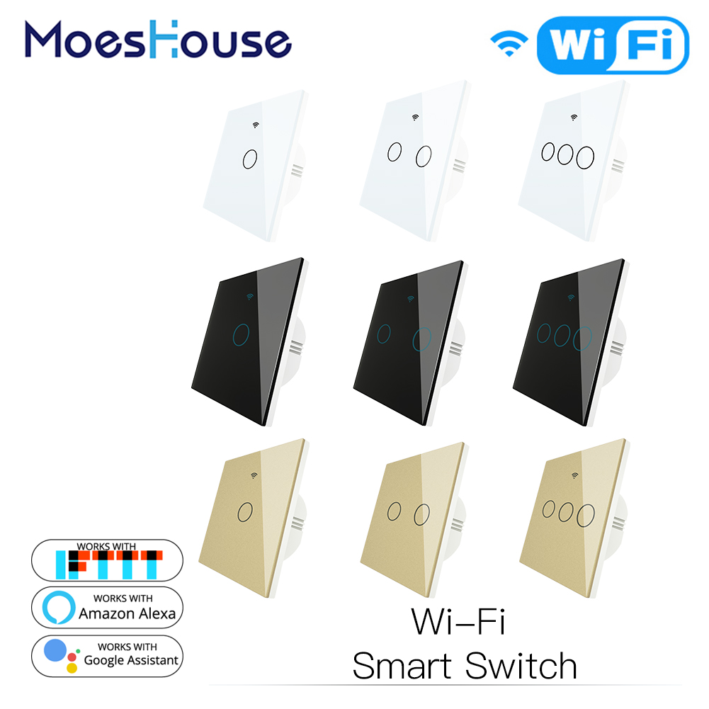 WiFi Smart Wall Touch Light Switch Smart Life/Tuya Wireless Remote Control Work With Alexa Google Home White Black Gold