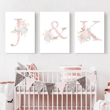 Baby Canvas Poster Nursery Art Painting Prints Pink Flower Print Paintings Wall Pictures For Girls Room Decor