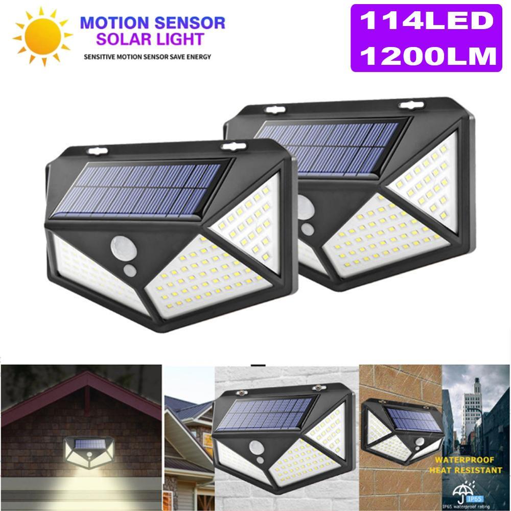 1/2pcs Highlight Solar Light 100 LED Solar Wall Lamp PIR Sensor Motion Waterproof Solar Lights For Yard Garden Decoration Lamp