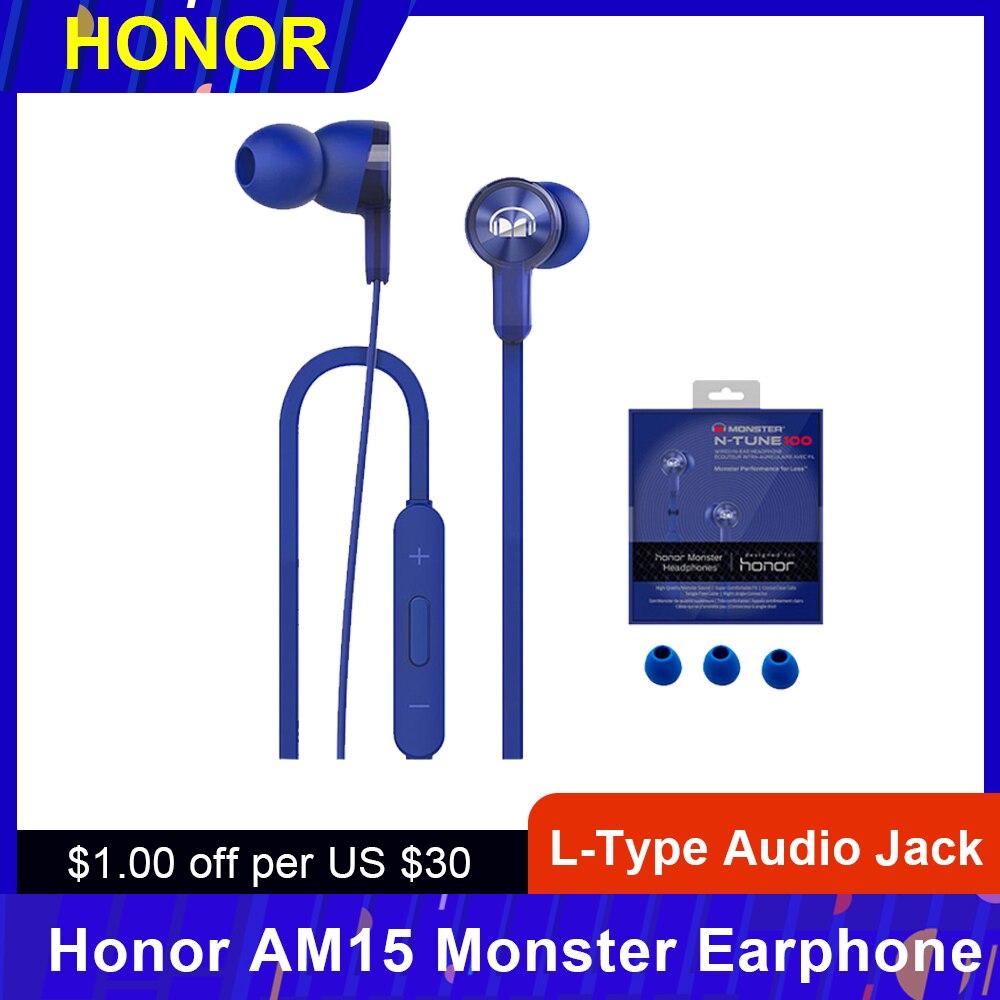 Honor-auricular de monstruo AM15 Original, intrauditivo de 3,5mm tipo L con mando a distancia y micrófono, Control por cable de 1,2 m con 3 puntas