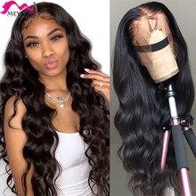 Meya malaio onda do corpo frente do laço perucas de cabelo humano 13x4 peruca frontal do laço para as mulheres negras pré arrancadas onda de água peruca 180 densidade