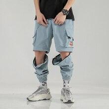 Korean Hip Hop Spring Joggers Pants Detachable Zip For Short Pants 2020 Streetwear Man Baggy Cargo Pants 3 Colors