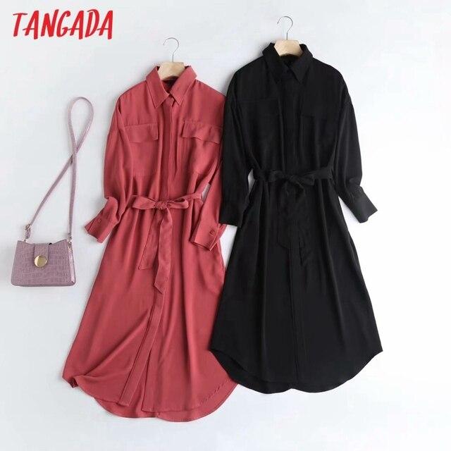 Tangada Fashion Women Elegant Solid Shirt Dress High Quality Long Sleeve Ladies Midi Dress Vestidos 4C58 1