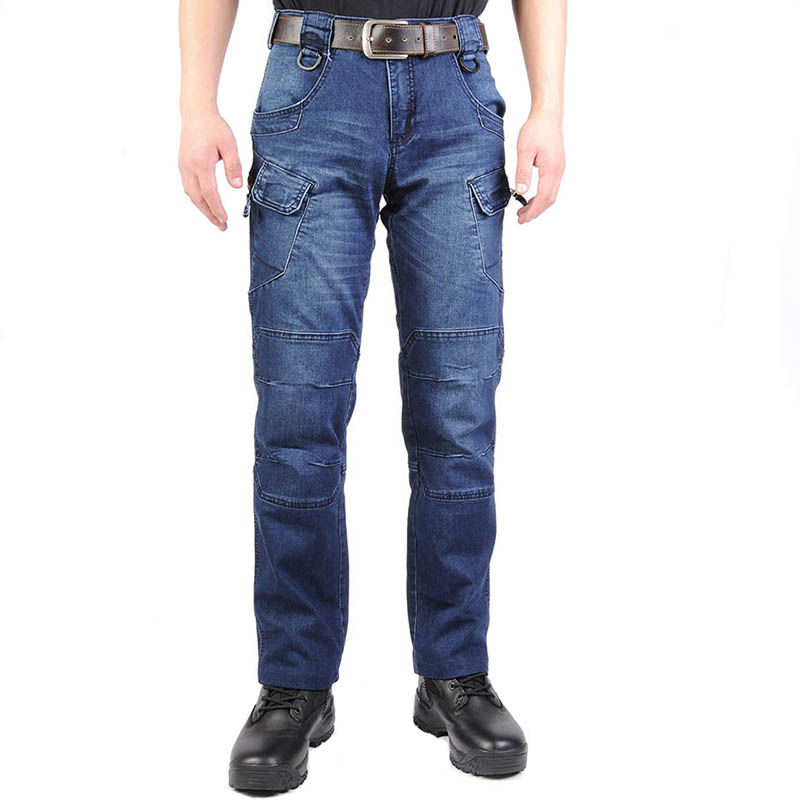 Mcikkny Men's Cargo Casual Jeans Pants With Multi-pockets Motorcycle Denim Trousers Military Style For Men's Outdoor Jeans Blue