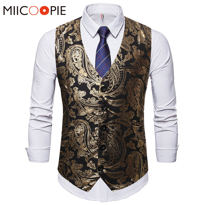 Classic Suit Vest Men Fashion Golden Bronzing Single Buttons Waistcoat Homme Autumn Winter Prom Party Sleeveless Gilet Uomo XXXL