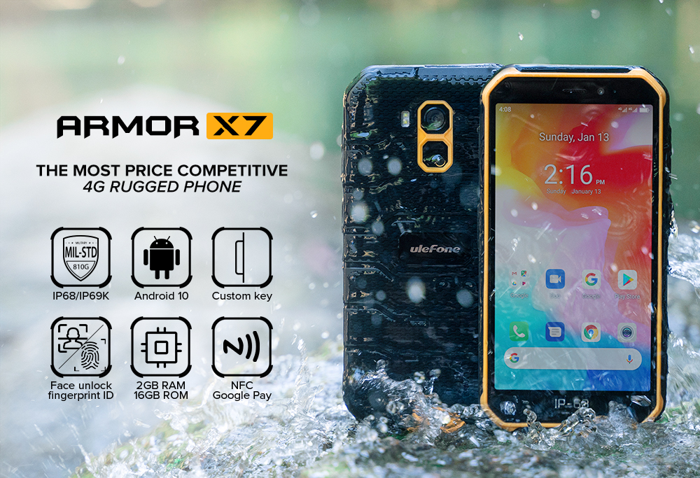 Ulefone Armor X7 Android 10 IP68 Rugged Waterproof Smartphone 2GB 16GB Quad-core NFC 4G LTE Mobile Phone Face Unlock Cell Phone