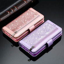 Bling Kéo Khóa Bao Da Ví Da Cho Samsung S20 Cực Note10 Plus 5G S10E S9 S8 S10 Ốp Lưng M10 s7 Edge Note8 Note9 Bao