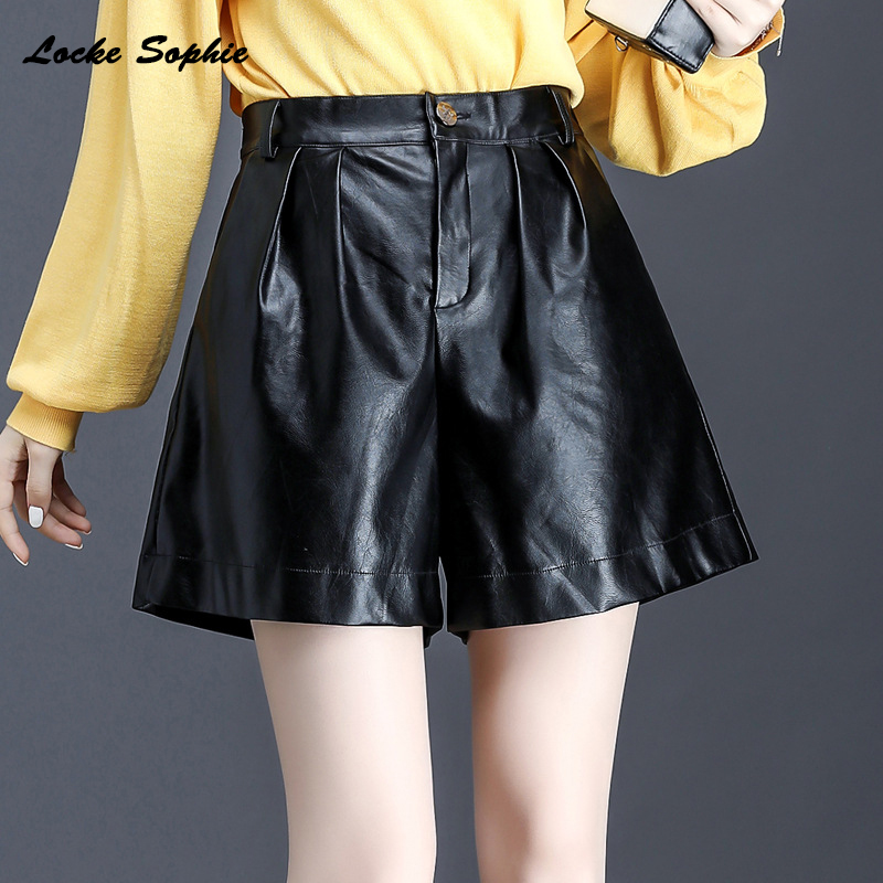 High Waist Women's Leather Shorts 2020 Autumn Faux Fur PU Leather Splicing Black Wide Leg Ladies Skinny Leatherwear Super Shorts