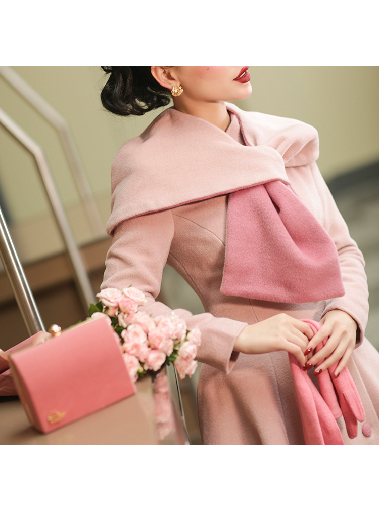 Le Palais Vintage 2019 Winter Original Vintage Pink Irregular Shawl Scarf Collar Collect Waist Skirt Long Wool Coat Women - 3