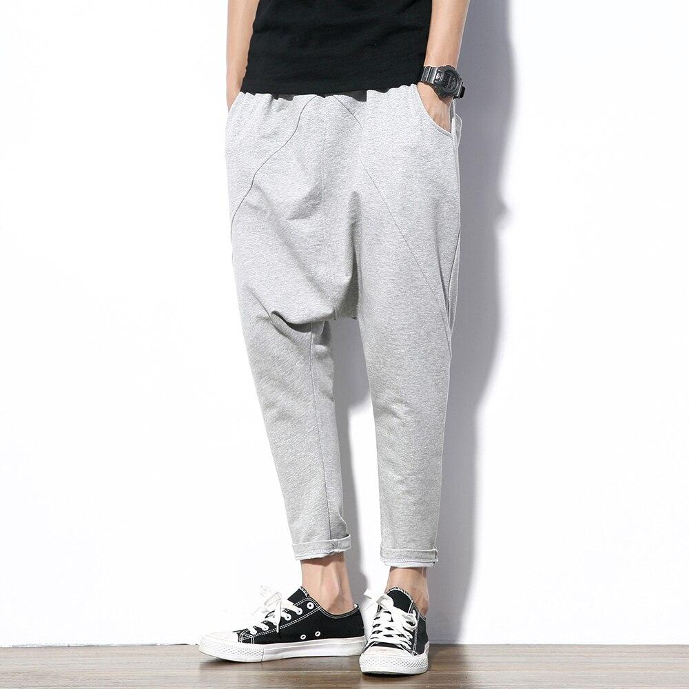 Image 4 - Fashion Black Gray Harem Pants Men Hip Hop Streetwear Baggy Rock  Mens Trousers Pants Cotton Stretch Casual Joggers Pants Malemens harem  pantspants stylestyle pant