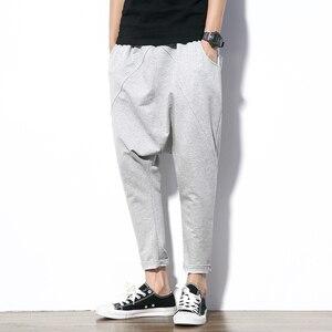 Image 3 - ผู้ชายกางเกง Hip Hop Streetwear ลำลอง Harem กางเกงผู้ชายสีดำสีเทาผ้าฝ้าย Sweatpants Solid Techwear Baggy กางเกงชาย