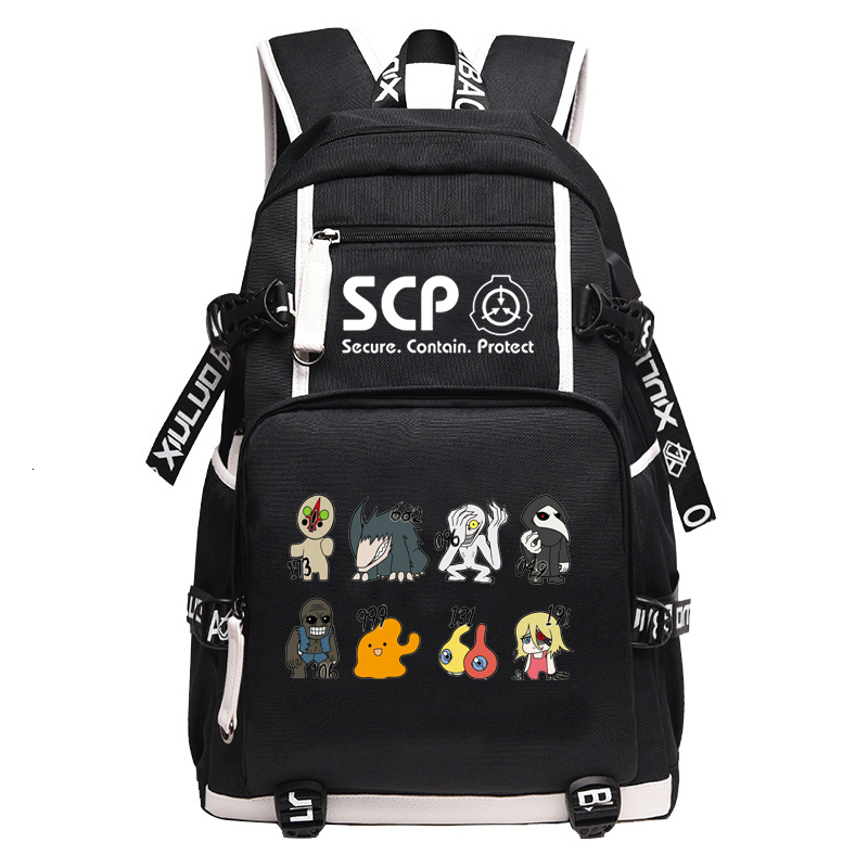 SCP Foundation Backpack Black Bookbag Cartoon School Bags For Teenage Kids SCP Travel Bagpack USB Laptop Shoulder Bags