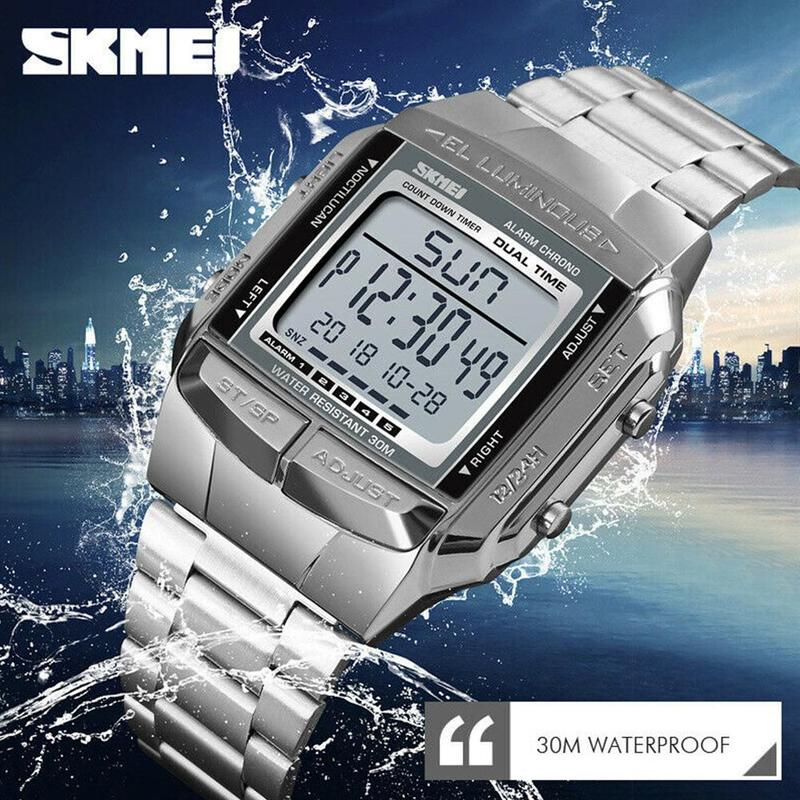 2019 Fashion Business Stable Square Digital Watch Men's Steel Strap With Rose Gold Explosive Electronic Led Watches Luxury Brand