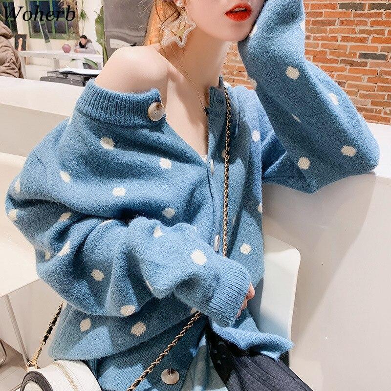 Woherb 2020 Women Polka Dots V-neck Knitted Cardigan Korean Fashion Sweet Style Womens Knitting Sweaters Coat Pull Femme 23480
