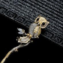 Палочка для волос из серебра 925 пробы с совой птицей черным