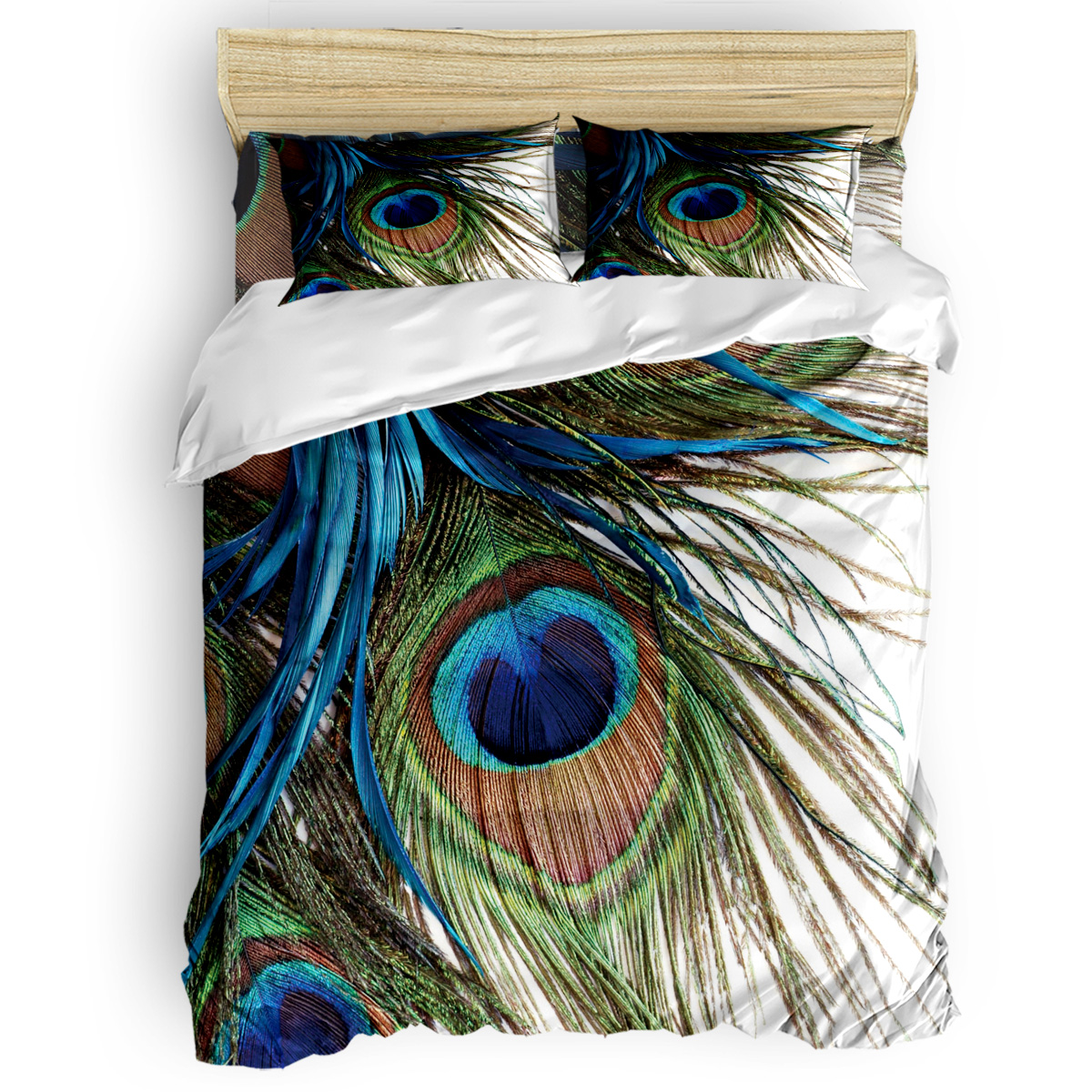 Peacock Feather 3D Painting Art Printing Custom Bedding Set 3D Digital Printing Christmas Bedding Set US KING QUEEN(China)