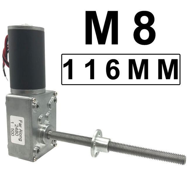 Long Threaded Shaft Micro DC Electric Worm Geared Motor High Torque DC 12V 24V 5 470RPM In DC Motor Adjustable Speed Self Lock