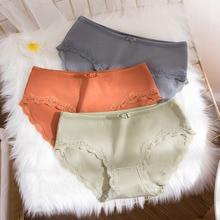 Wasteheart Women Fashion Orange Blue Cotton Mid Waist Panties Underwear Lingerie Lace Briefs 3 Piece Color Underpants XL