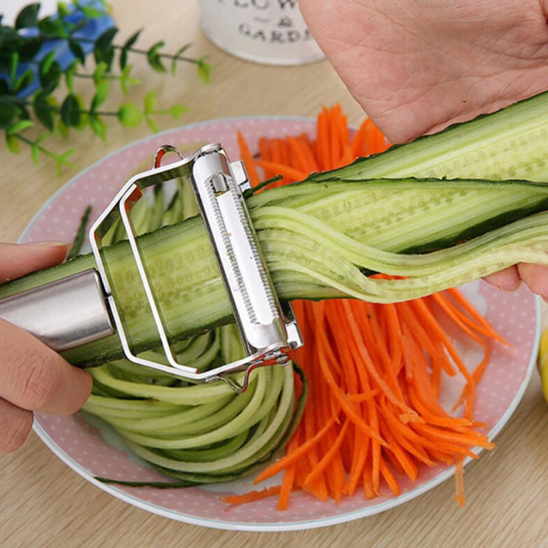 2 in 1 Metall Peeler Set Kartoffelschneider Slicer julienne Gemüse Obst Shredder