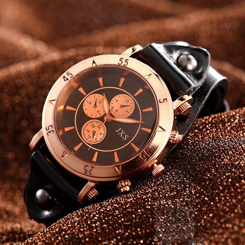 2020 New Fashion Couple High Gloss Glass Leather Belt Watch Couple Gift Quartz Analog Wrist Watch Chronograph Erkek Kol Saati