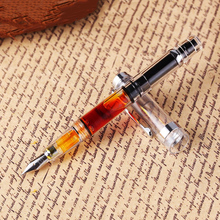 ใหม่ Wingsung 698 ปากกาน้ำพุโปร่งใสลูกสูบ Wing Sung หมึกปากกา Iridium 0.38/0.5 มม.ทองเงินคลิปของขวัญกล่องปากกา
