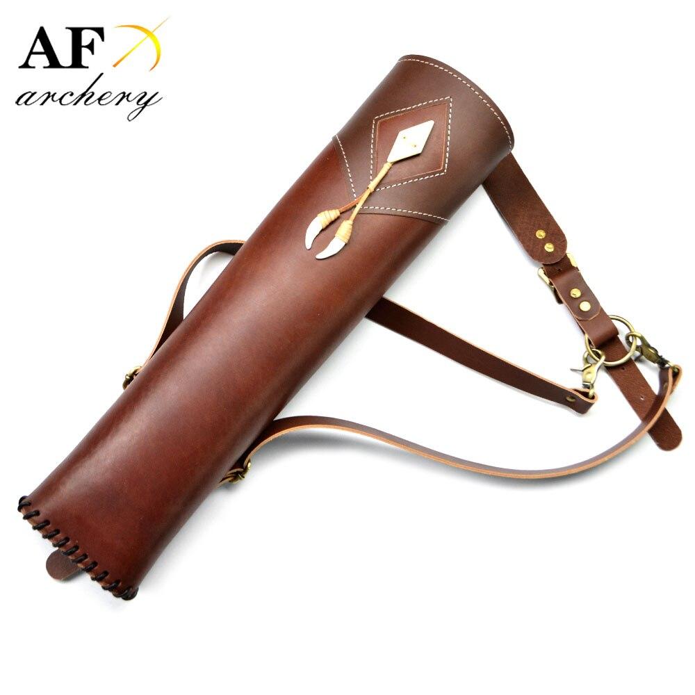 Nouveau carquois de tir à l'arc en cuir de vachette à trois points à l'épaule à l'arrière pour la chasse