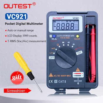 OUTEST VC921 Mini Digital Multimeter True-RMS Auto Range Frequency AC/DC Voltage 4000 counts pocket size meter - DISCOUNT ITEM  22 OFF Tools
