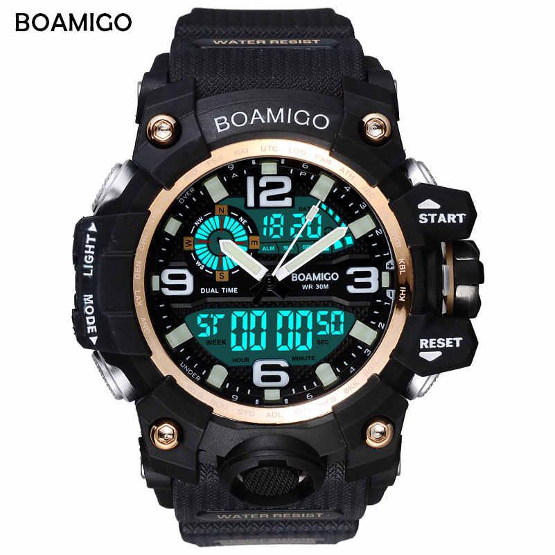 BOAMIGO מותג גברים ספורט שעונים LED הדיגיטלי אנלוגי שעון יד לשחות עמיד למים צהוב גומי מתנת שעון Relogios Masculino
