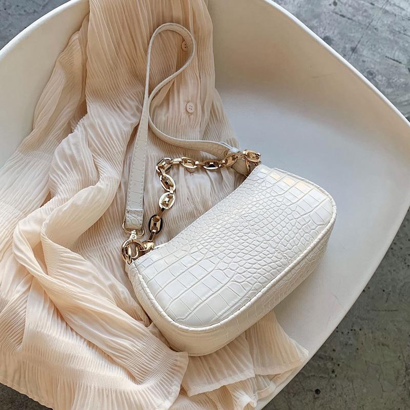 SWDF-Bolso Baguette con patrón de cocodrilo para mujer, bandoleras de piel sintética, diseño con cadena, bolsa de mano de lujo, 2021
