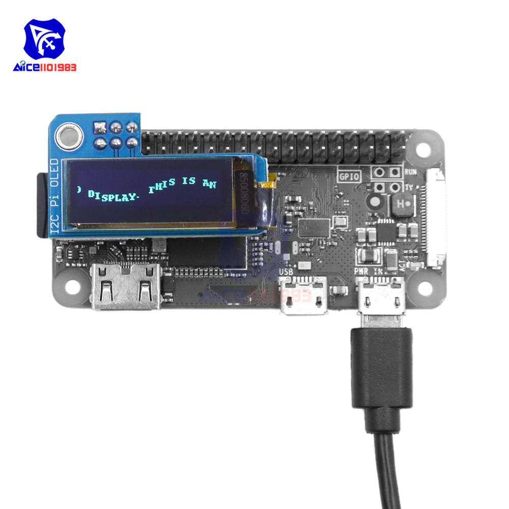 diymore 0.91 <font><b>Inch</b></font> I2C Pi OLED <font><b>LCD</b></font> <font><b>Display</b></font> Module 128x32 SSD1306 Driver for Raspberry Pi <font><b>1</b></font>, B+, Pi 2, Pi 3 and Pi Zero image
