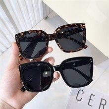 Korea Vintage Square Sunglasses 2020 Fashion Big Frame Sun Glasses Rivet Women Designer Eyewear UV400 Shopping Travel Oculos