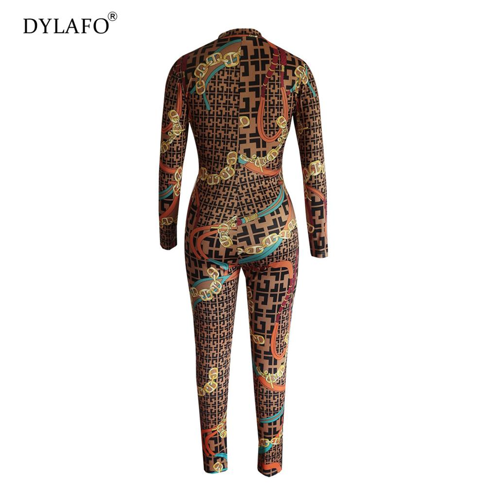 Clearance Sale╩2019 New Sexy Stand Neck Skinny Rompers Zippers Long Sleeve Print Womens Jumpsuit Streetwear Plus Size Ladies Jumpsuits Overallsä
