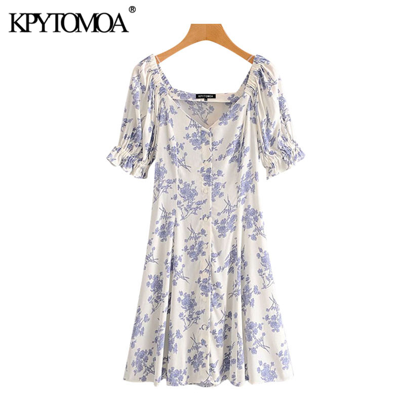 KPYTOMOA Women 2020 Chic Fashion Floral Print Button-up Mini Dress Vintage V Neck Short Sleeve Female Dresses Vestidos Mujer