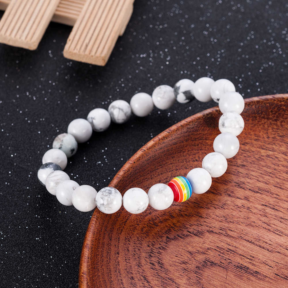 1Pc Women Men Rainbow Flag Ball Natural Stone Black Onyx Beads Bracelet June Pride LGBT GAY Couple Jewelry For Love men jewelry