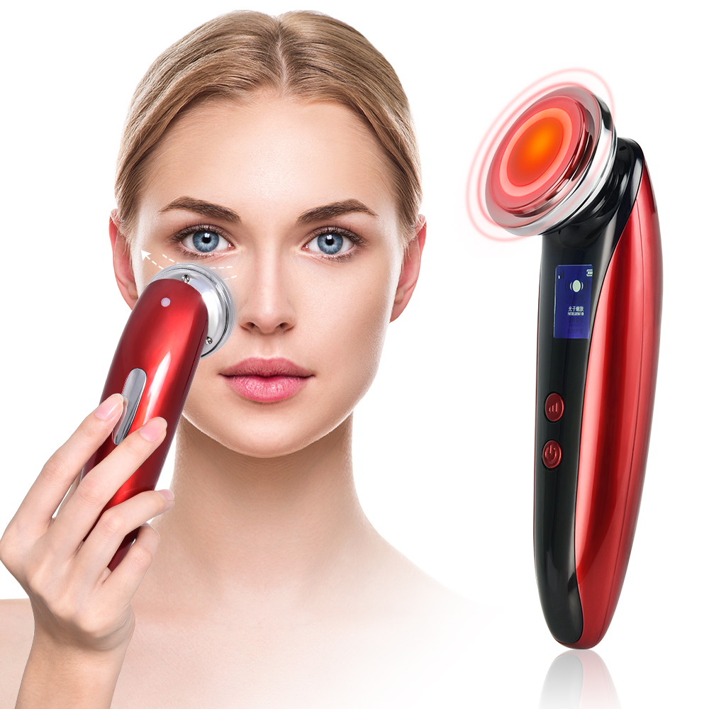 Ultrasonic Face Lifting Massager 42°C Heating LED Photon Mesotherapy Skin Rejuvenation Wrinkle Removal Facial Skin Care Tool